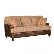 King Hickory > Chatham Sofa in Leather and Fabric