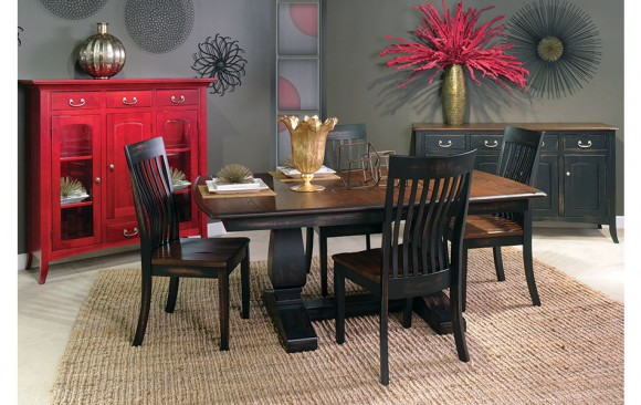 Red Display Cabinet + Dining Table