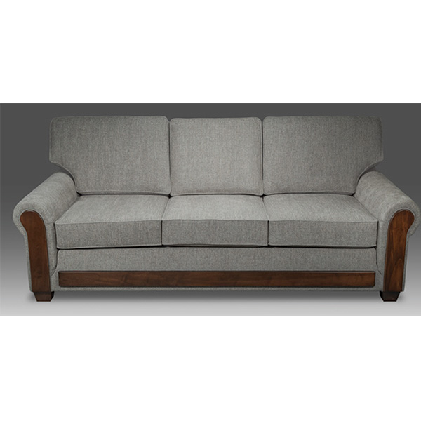 Woodbury Sofa Wood Trim   Amish Furniture in Michigan   Fenton Home Furnishings